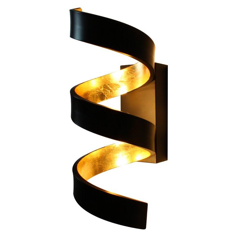 Aplică Mcallister cu 3 lumini LED, metal, negru / auriu, 26cm H x 13cm W x 10cm D