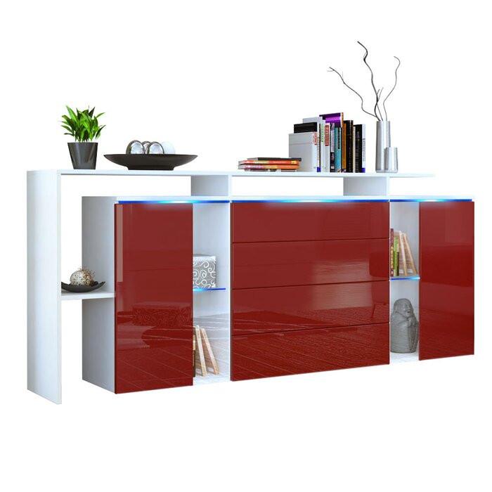 Buffet Lisabona, PAL, alb/rosu, 80 x 185 x 35 cm poza chilipirul-zilei.ro