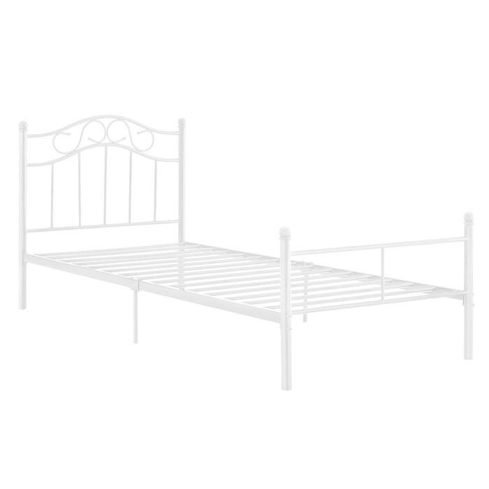 Cadru de pat, metal, alb, 84,5 x 126 x 209 cm
