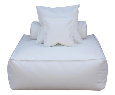 Canapea de o persoană Panama albă, 110x110x90cm