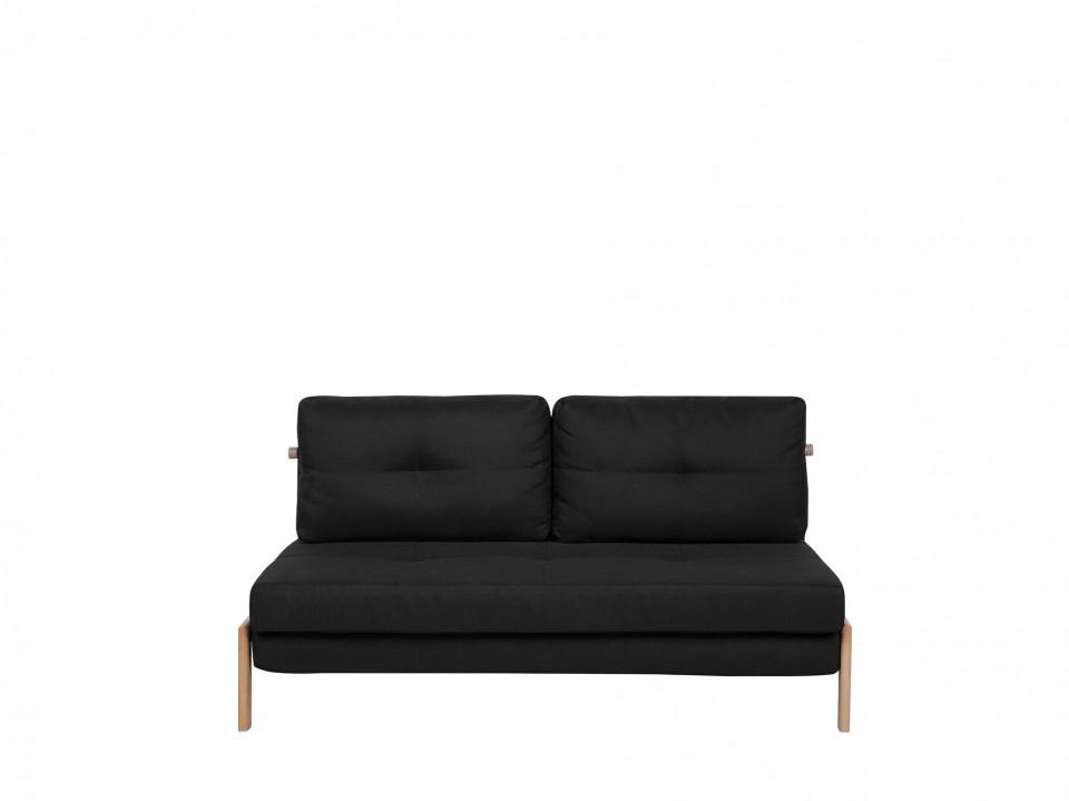 Canapea extensibila EDLAND, lemn/poliester, neagra, 76 x 152 x 92 cm