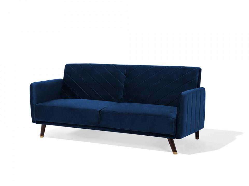 Canapea extensibila Senja, lemn masiv, albastru inchis, 27 x 87 x 95 cm imagine chilipirul-zilei.ro