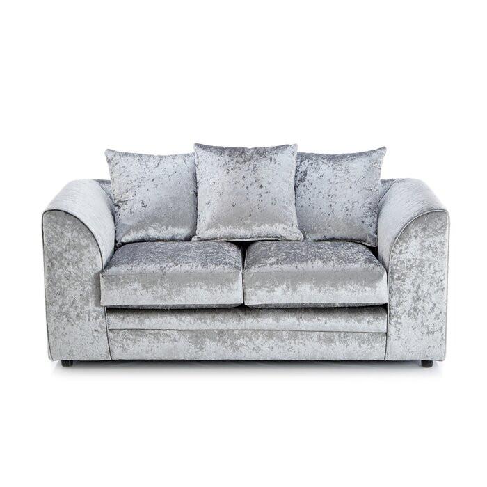 Canapea Sophie, 2 locuri, Argintie, 76 x 152 x 90 cm