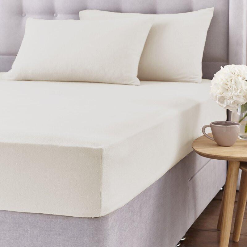 Cearșaf de pat și 2 fețe de pernă, crem, 135 x 190cm imagine 2021 chilipirul zilei