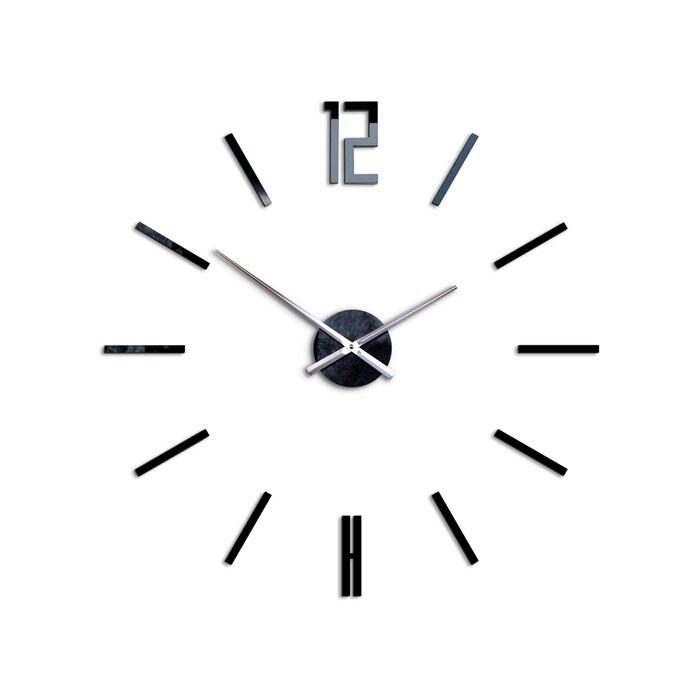 Ceas de perete Carlo XXL, sticla, negru, 75 x 75 x 3 cm chilipirul-zilei.ro