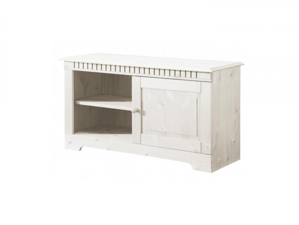 Comoda TV CUBIX, lemn masiv de pin, alb, 94 x 35 x 50 cm