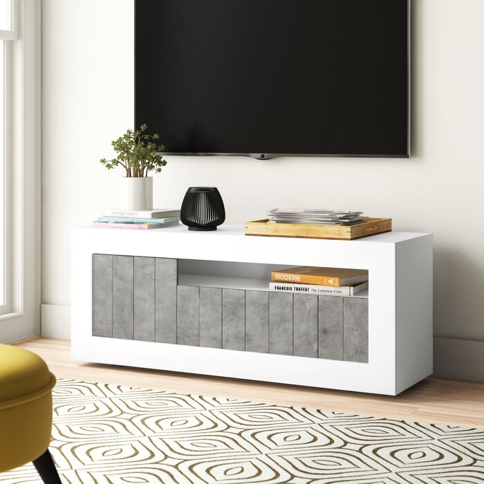 Comoda TV Mavis, PAL, alba/gri, 138 x 56 x 42 cm poza chilipirul-zilei.ro