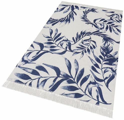 "Covor ""Frunze albastre"" GMK Home&Living, alb/albastru, 120 x 180 cm imagine 2021 chilipirul zilei"