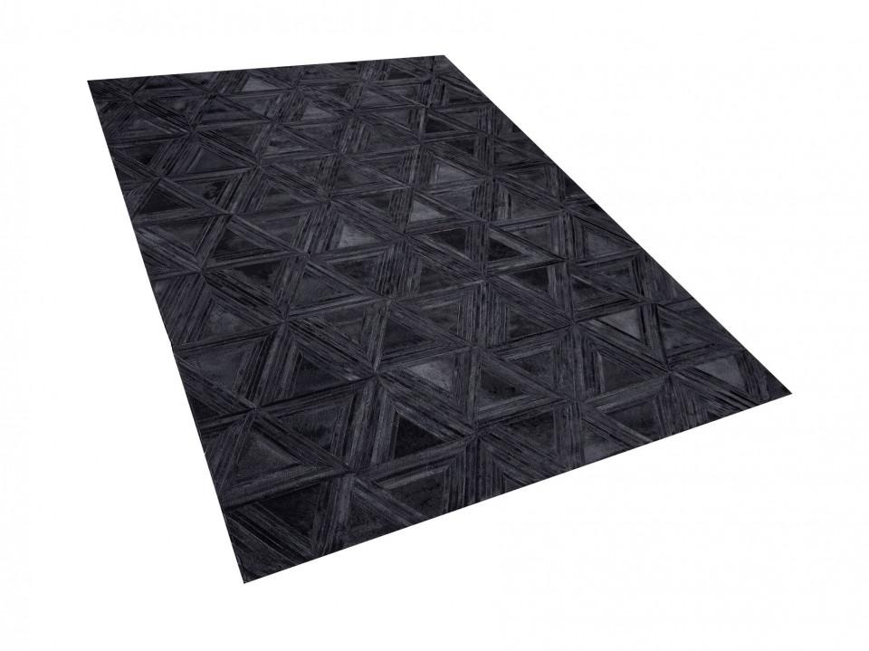 Covor KASAR, piele, negru, 140 x 200 cm imagine 2021 chilipirul zilei