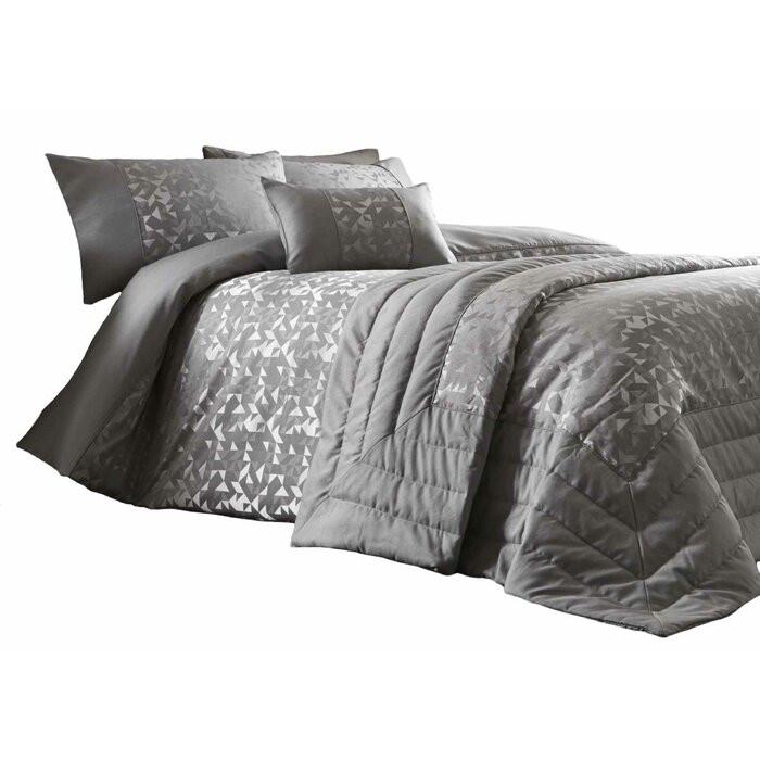Cuvertură de pat Julio, poliester, argintie, 230 x 200 cm