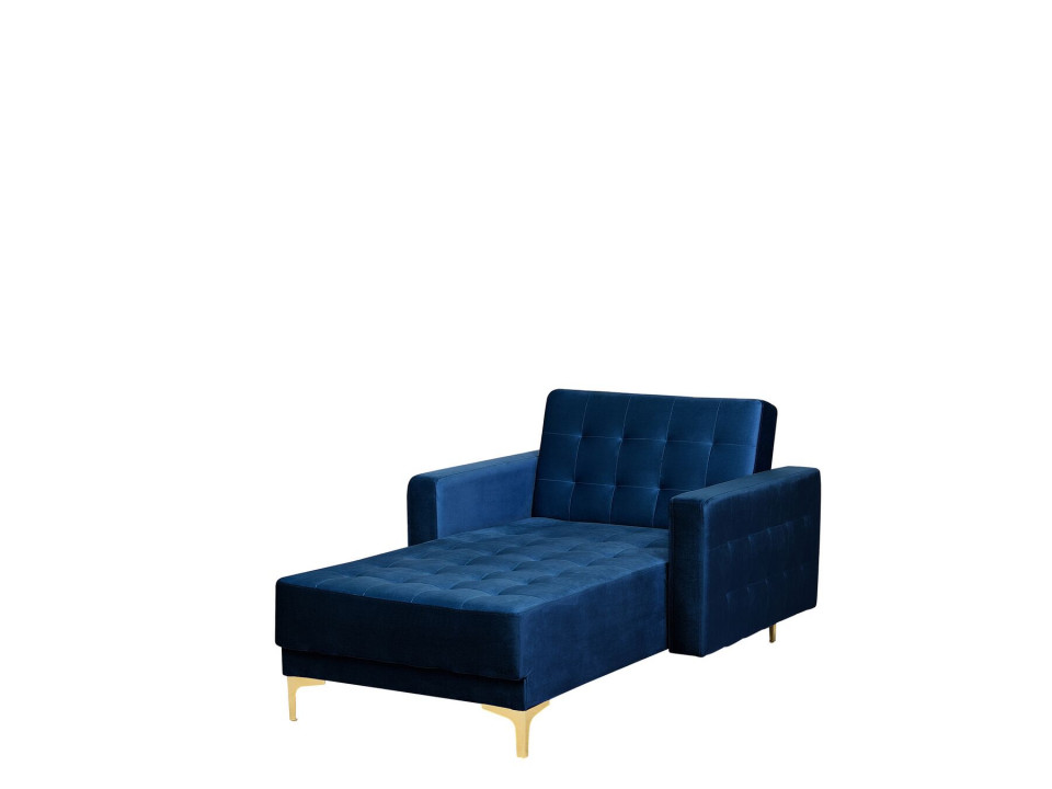 Fotoliu ABERDEEN, catifea, albastru, 107 x 168 x 83 cm imagine chilipirul-zilei.ro