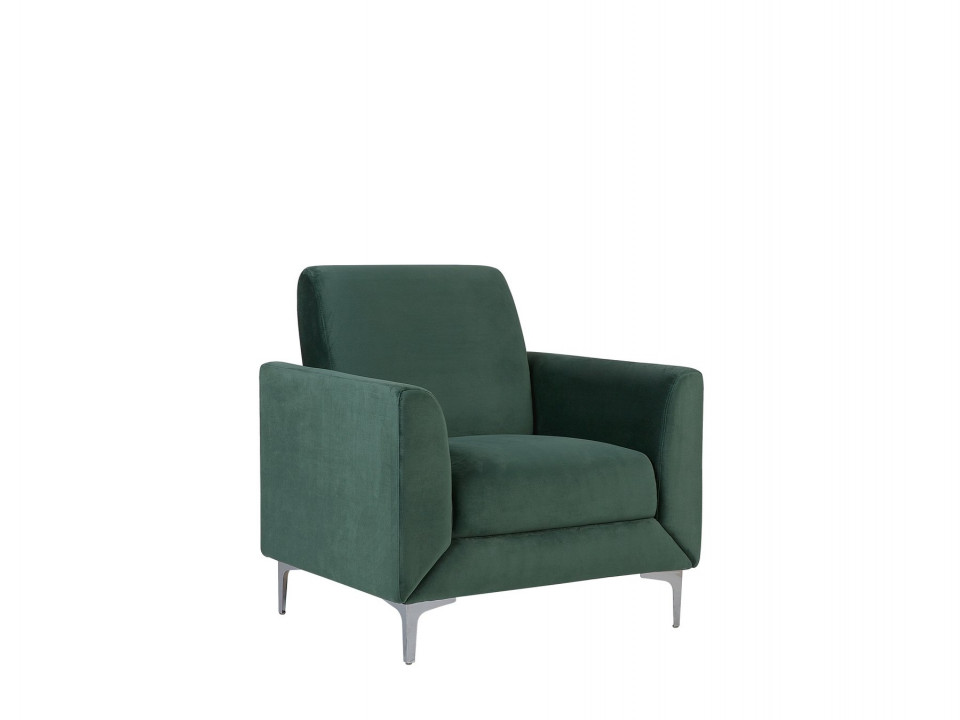 Fotoliu FENES, catifea, verde, 89 x 75 x 90 cm