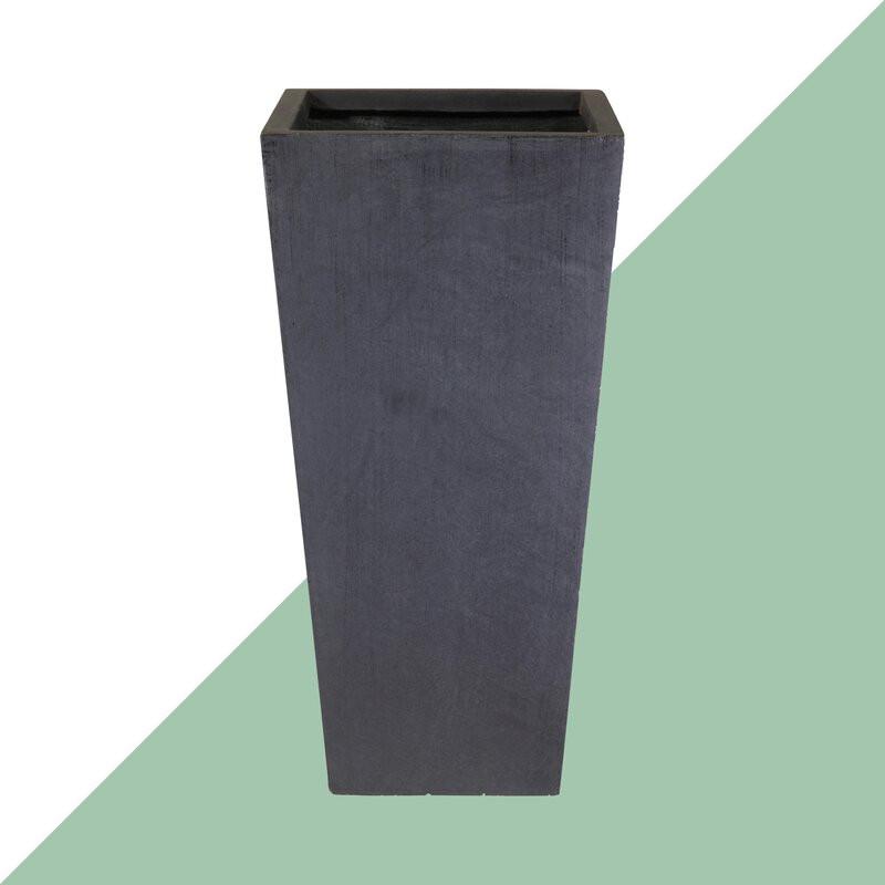 Ghiveci de plante contemporan din piatră, negru