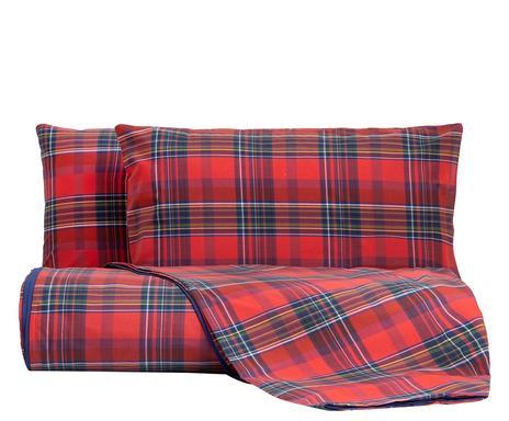 Lenjerie pentru pat de o persoană Red Madras chilipirul-zilei.ro