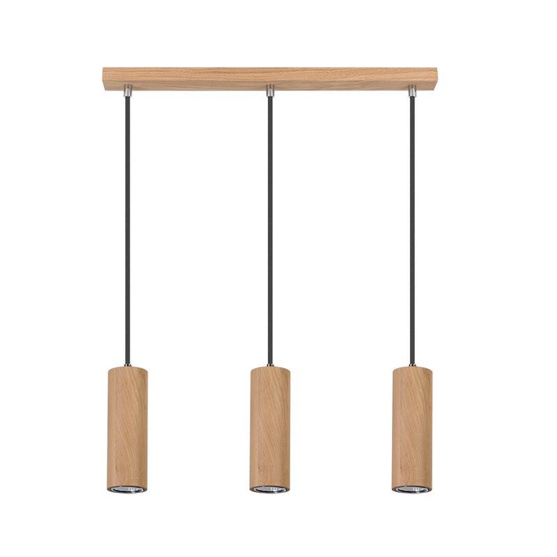 Lustra tip pendul Pipe II, lemn, maro, 52 x 110 x 5 cm