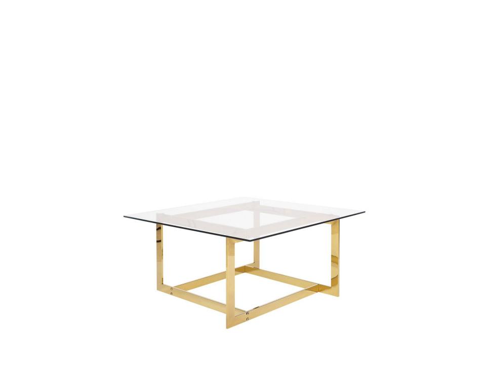 Masa de cafea Crystal, transparent/aurie, 40 x 80 x 80 cm chilipirul-zilei.ro