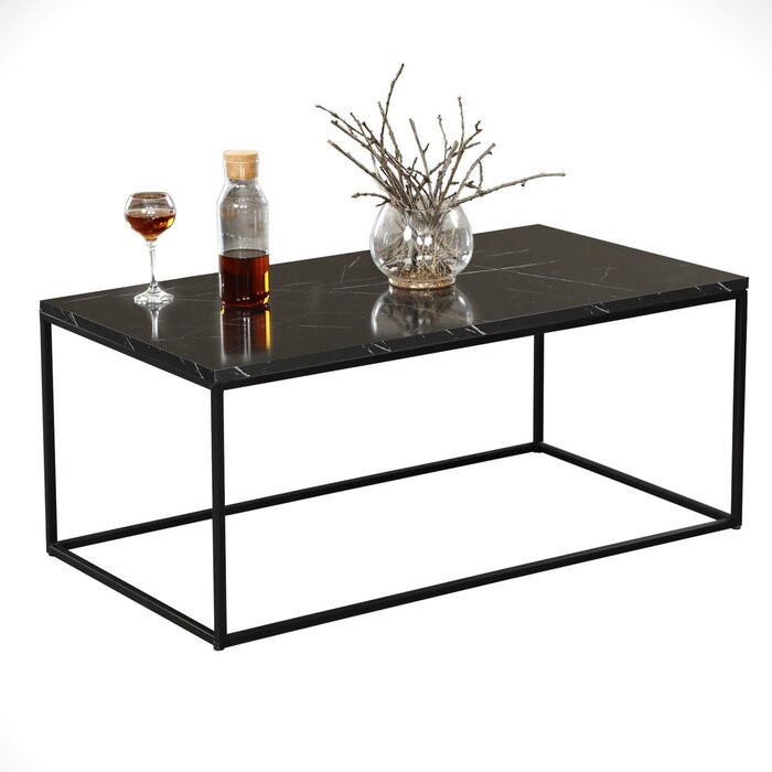 Masa de cafea Lawanda, metal/lemn, neagra, 43 x 95 x 55 cm