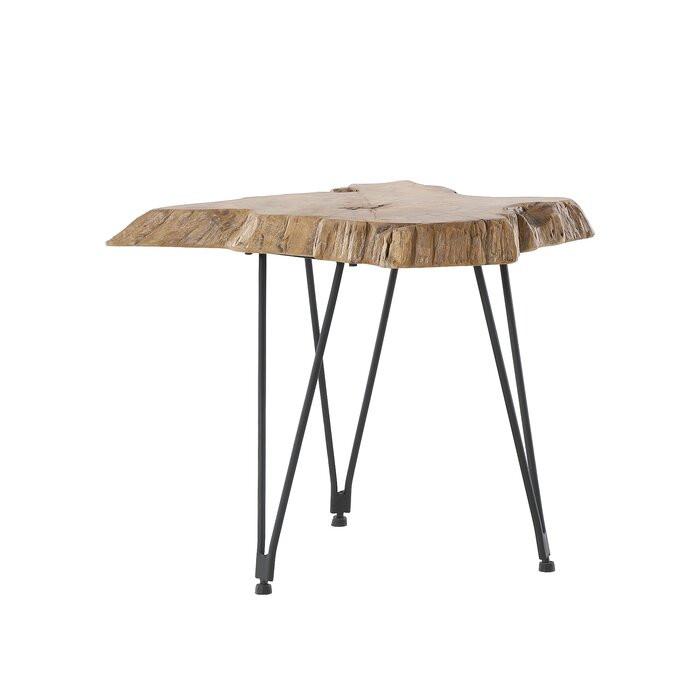 Masa laterala Faux, lemn/metal, maro/neagra, 46 x 50 x 50 cm imagine chilipirul-zilei.ro