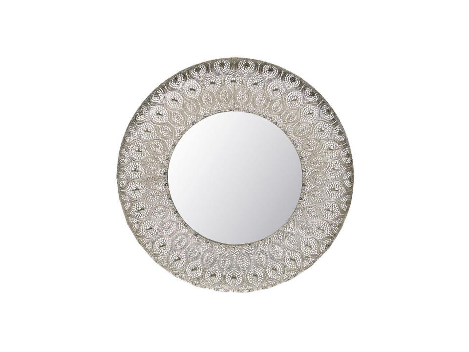 Oglinda de perete BALLIA, metal/sticla, argintie, 75 x 75 x 9 cm imagine 2021 chilipirul zilei