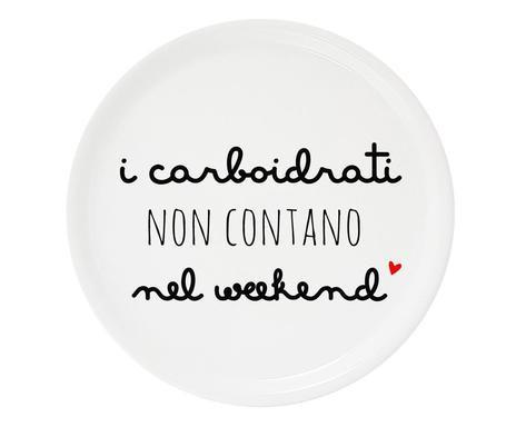 Platou decorativ de pizza Carboidrati, portelan, alb, diametru 30 cm chilipirul-zilei.ro