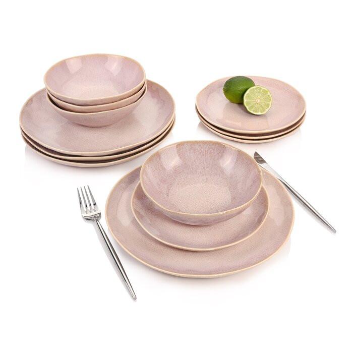Serviciu de cină Nizza, 12 piese, portelan, roz chilipirul-zilei.ro