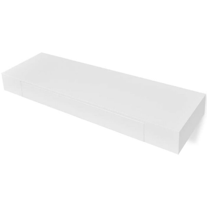 Set de 2 etajere, MDF, albe, 8 x 80 x 25 cm