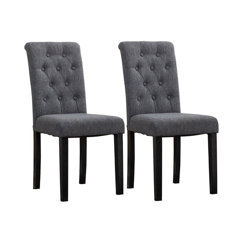 Set de 2 scaune Brick and Barrel, tapitate gri/lemn