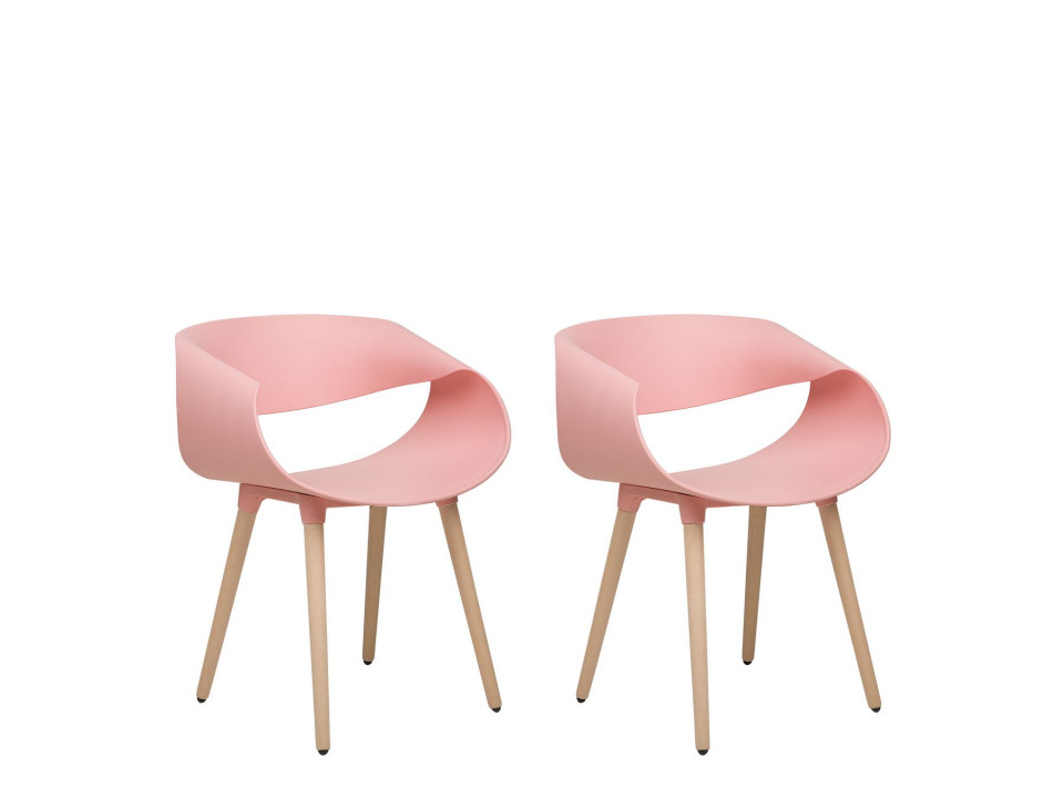 Set de 2 scaune CHARLOTTE, lemn, roz, 55 x 53 x 78 cm