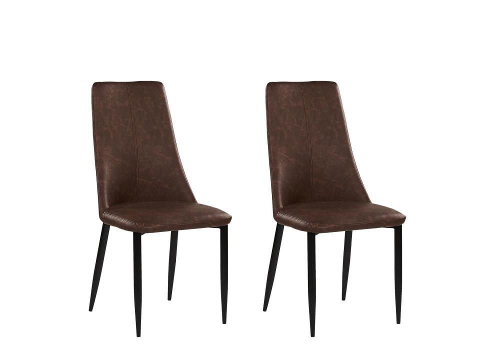 Set de 2 scaune CLAYTON, piele ecologica, maro, 47 x 58 x 96 cm imagine 2021 chilipirul zilei