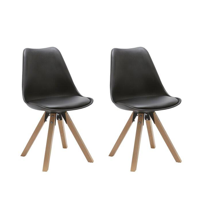 Set de 2 scaune Lacy, lemn, negre, 87 x 48 x 52 cm imagine chilipirul-zilei.ro