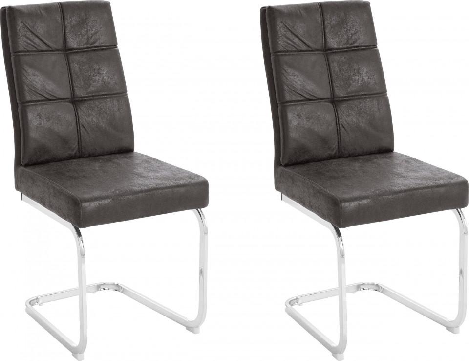 Set de 2 scaune Lale, microfibra/metal, antracit/argintiu, 45x61x95 cm poza chilipirul-zilei.ro