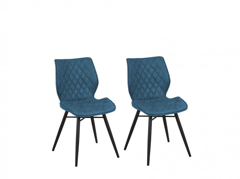 Set de 2 scaune LISLE, lemn/poliester, albastre, 44 x 47 x 86 cm imagine 2021 chilipirul zilei