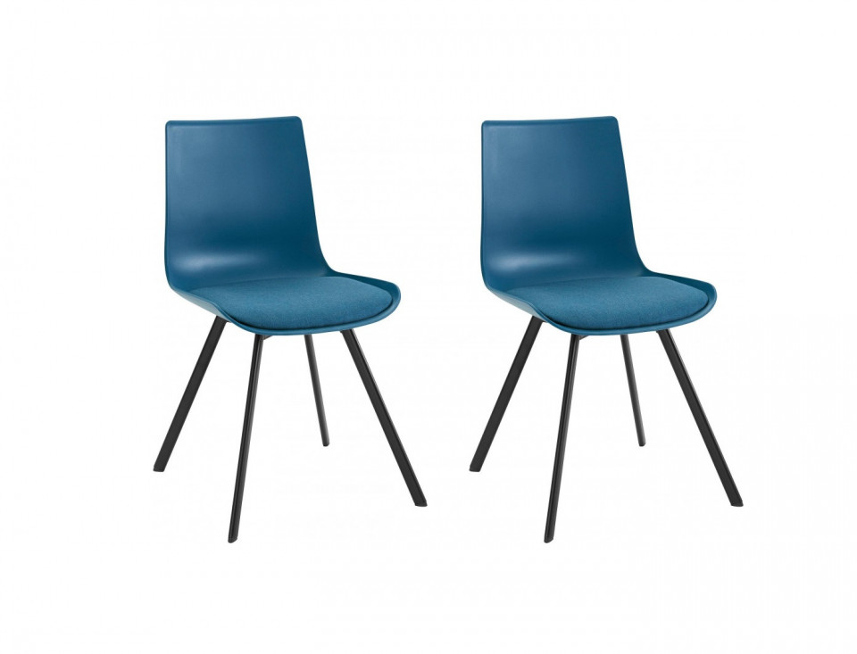 Set de 2 scaune Lucky, tesatura/metal, albastru petrol/negru, 48x40x43 cm