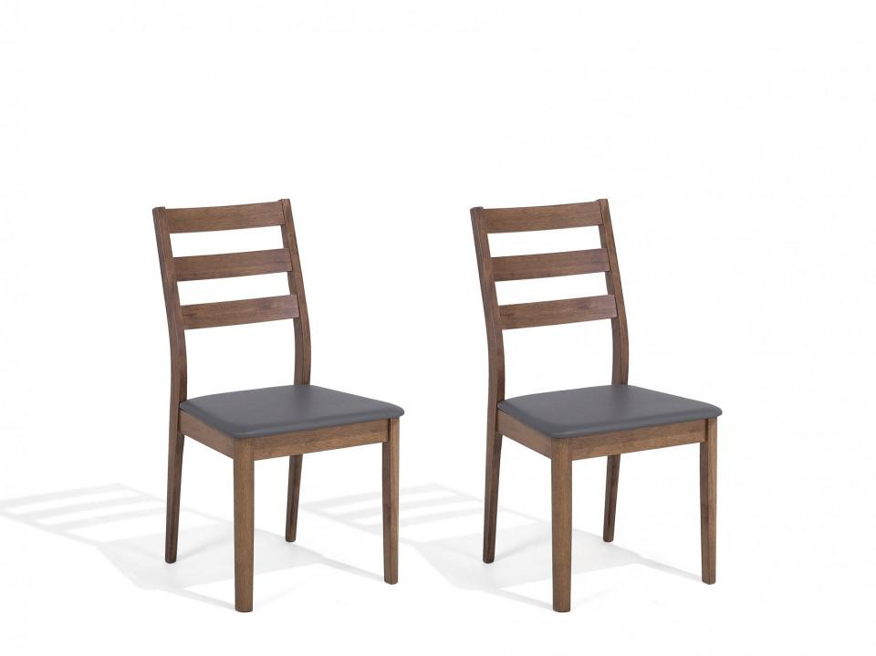 Set de 2 scaune MODESTO, maro/gri 2021 chilipirul-zilei.ro