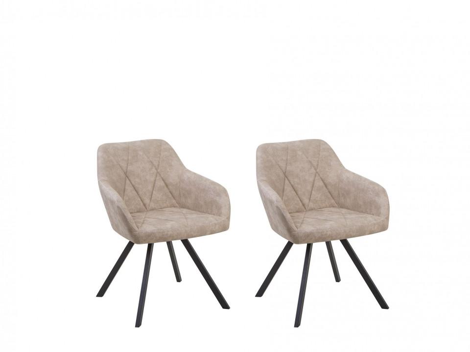 Set de 2 scaune MONEE, lemn/poliester, bej, 48 x 50 x 78 cm