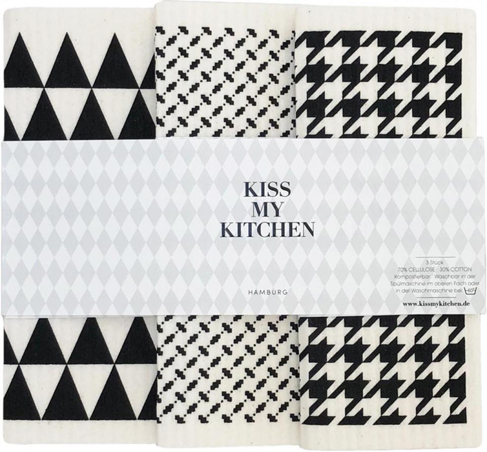 Set de 3 prosoape pentru bucatarie Tokyo, alb/negre, 17 x 20 cm imagine 2021 chilipirul zilei