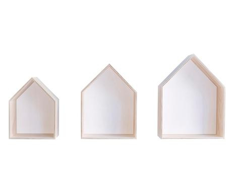 Set de 3 rafturi Houses, alb