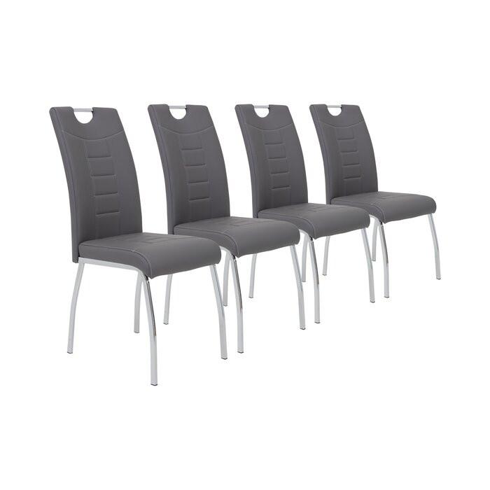 Set de 4 scaune Hedgepeth, argintii/ gri, 100 x 43 x 64 cm chilipirul-zilei.ro