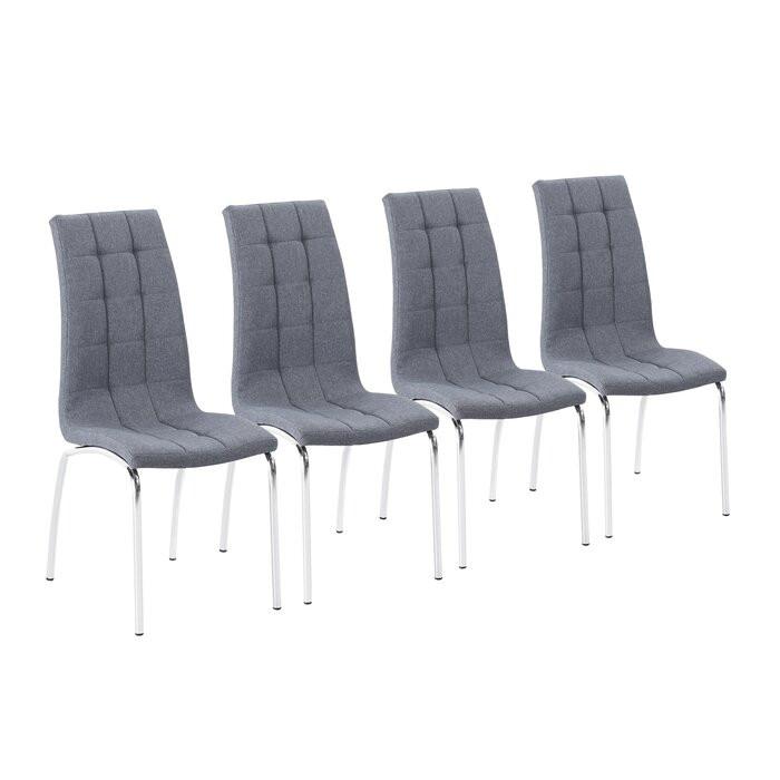 Set de 4 scaune Tani, gri/argintii, 100 x 42 x 58 cm imagine chilipirul-zilei.ro