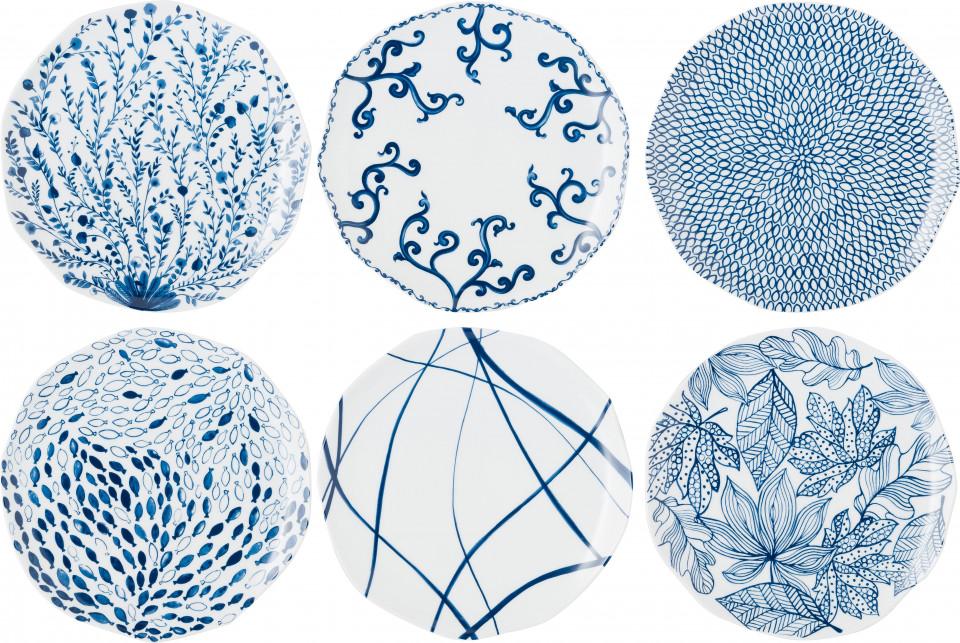 Set de 6 farfurii plate, albe/albastre, 27 cm imagine 2021 chilipirul zilei