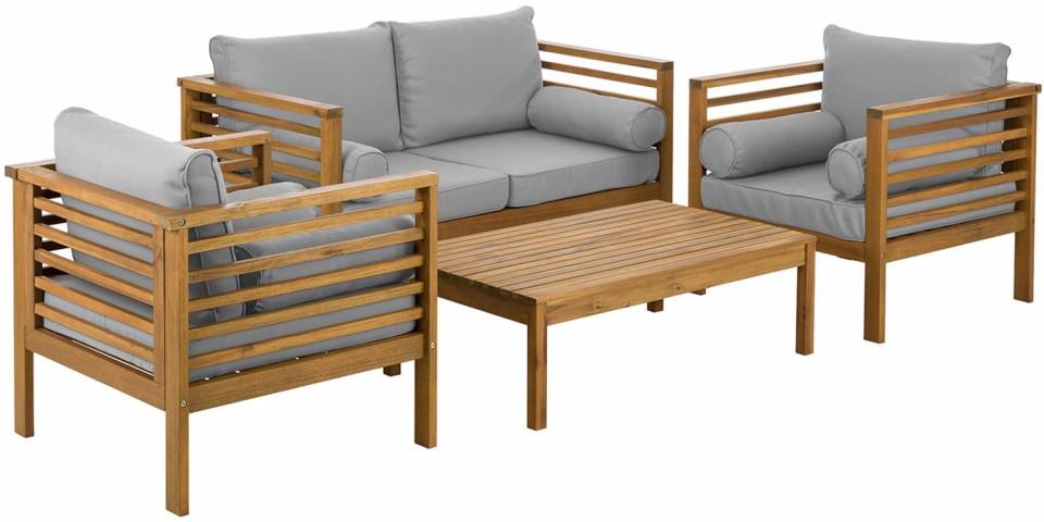 Set de terasă Bo gri, lemn masiv, 4 piese
