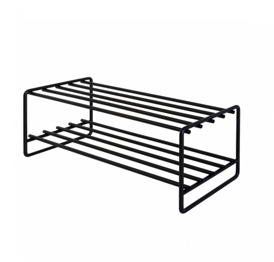 Stand pentru incaltari OPP otel, negru, 70 x 27 x 29 cm
