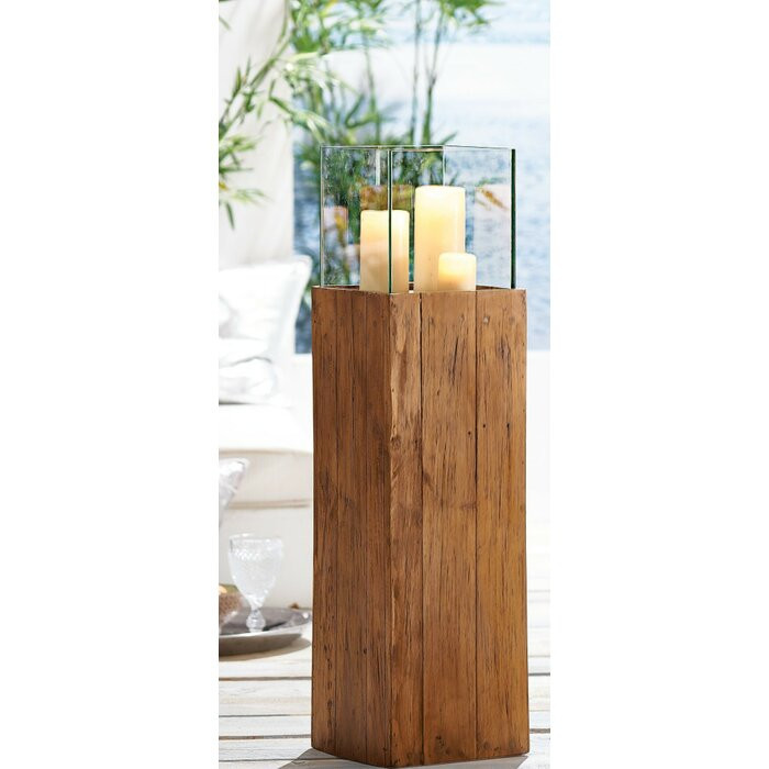 Suport lumanari, sticla/lemn, maro, 80 x 20 x 20 cm
