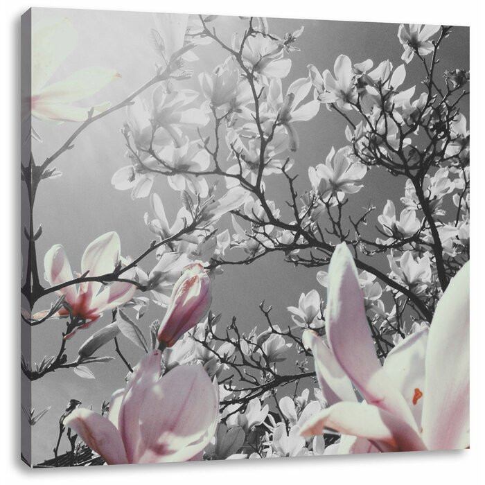 "Tablou ""Magnolie"", panza, 70 x 70 cm poza chilipirul-zilei.ro"