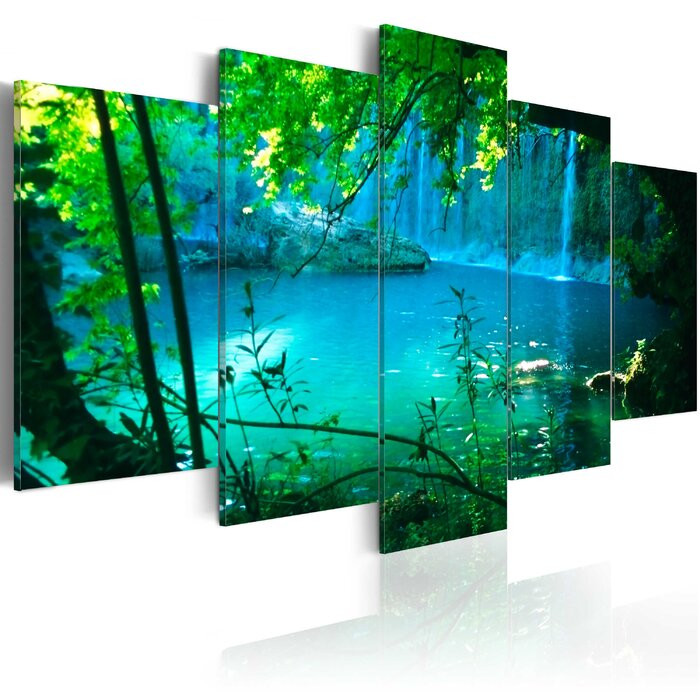 Tablou 'Turquoise Seclusion', panza, verde/albastru, 50 x 100 x 1,4 cm imagine chilipirul-zilei.ro