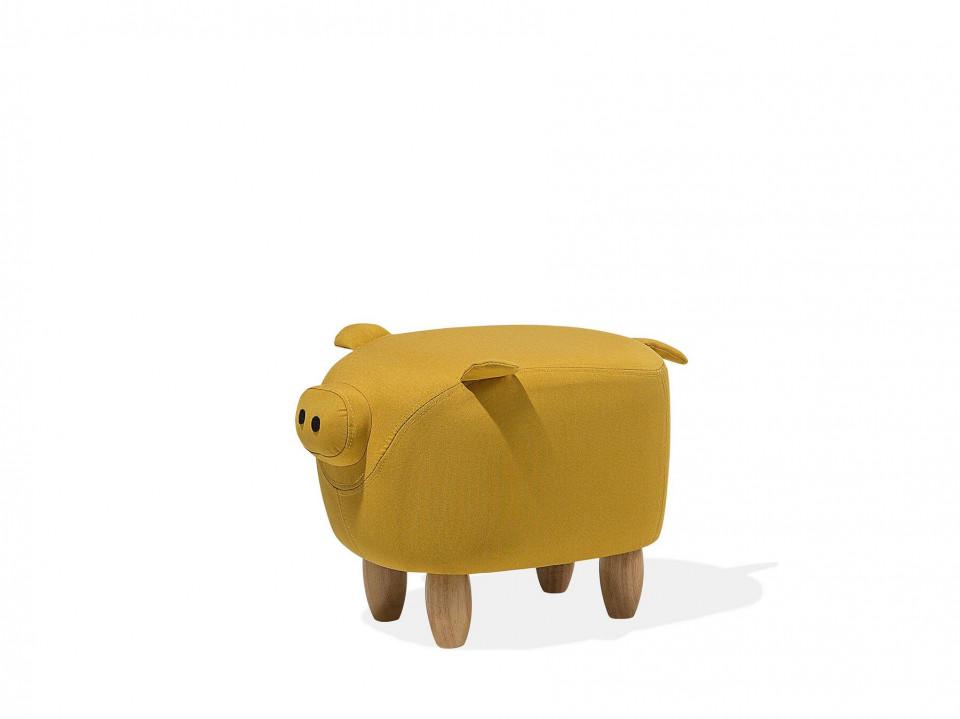 Taburet PIGGY, lemn/poliester, galben, 50 x 32 x 35 cm imagine 2021 chilipirul zilei