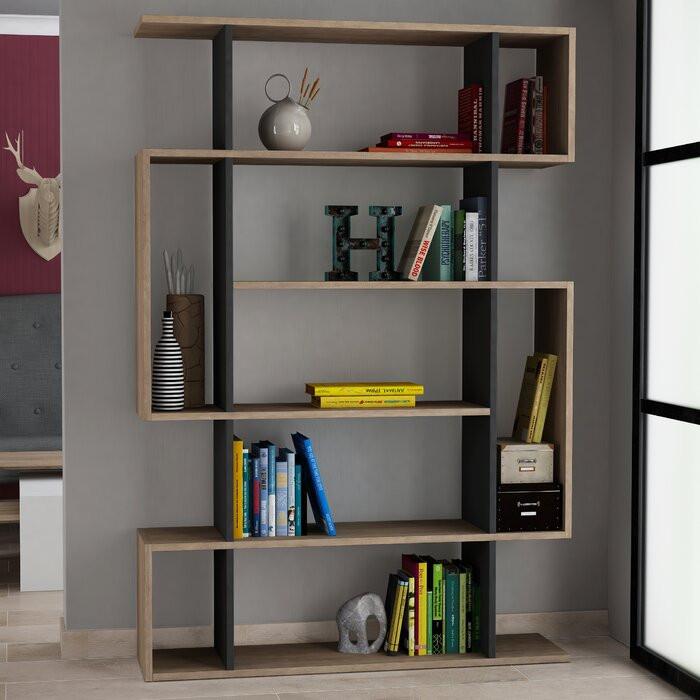 Bibliotecă Giselle, PAL, maro/antracit, 161 x 108,5 x 25,5 cm