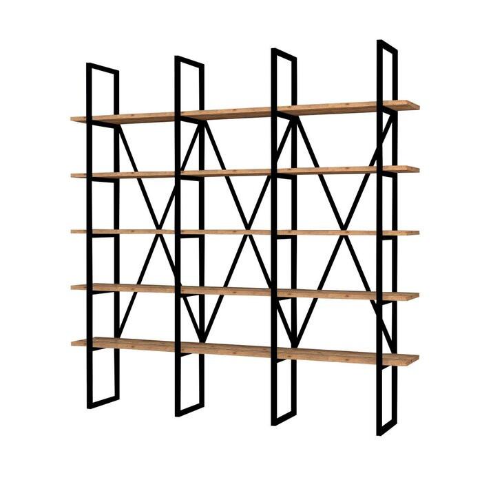 Bibliotecă Joppatowne, metal, negru/maro, 160 x 160 x 26 cm poza chilipirul-zilei.ro