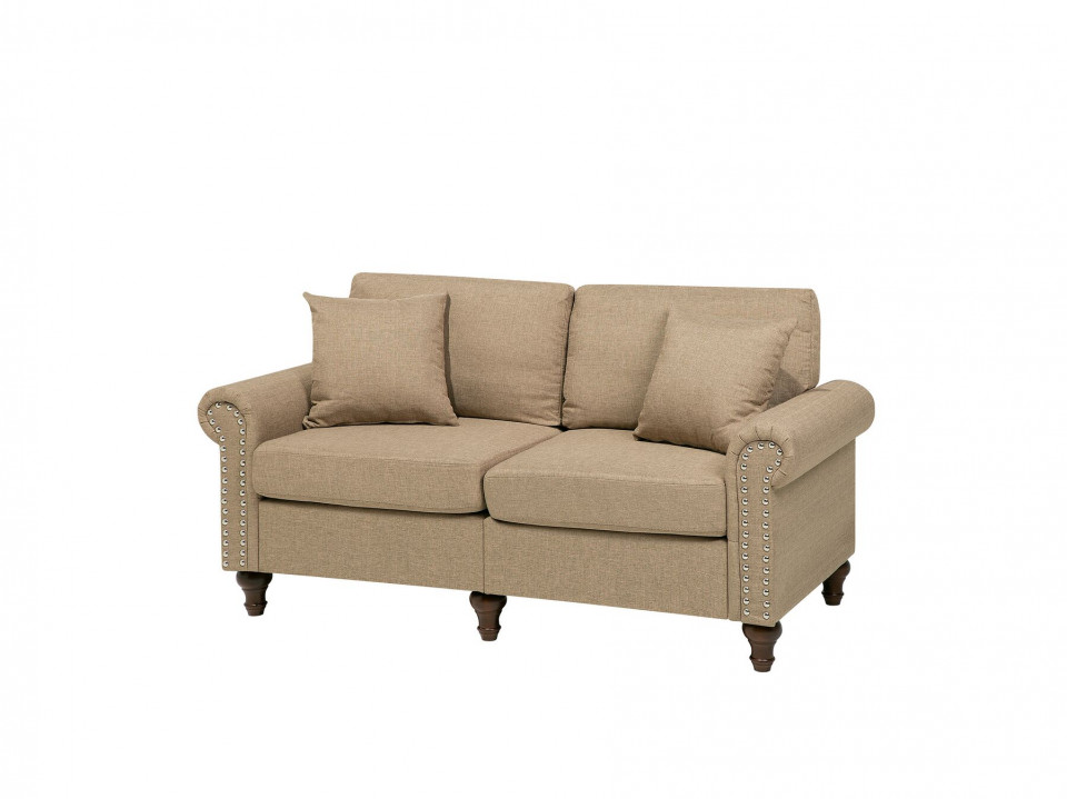 Canapea de 2 locuri OTRA, textil, bej 2021 chilipirul-zilei.ro