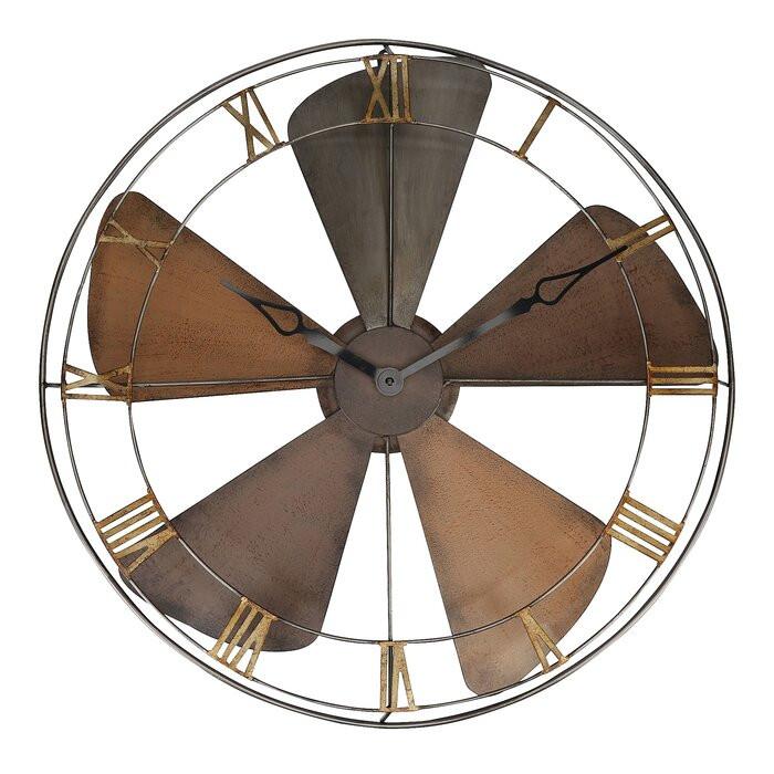 Ceas de perete Ananke XXL, metal, maro, 61,5 x 61,5 x 6 cm
